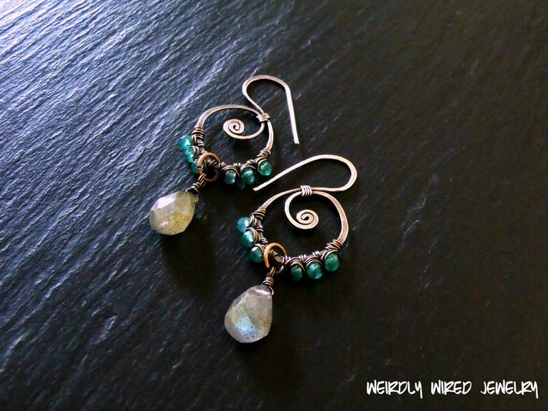 Green Onyx, Labradorite Spiral Earrings