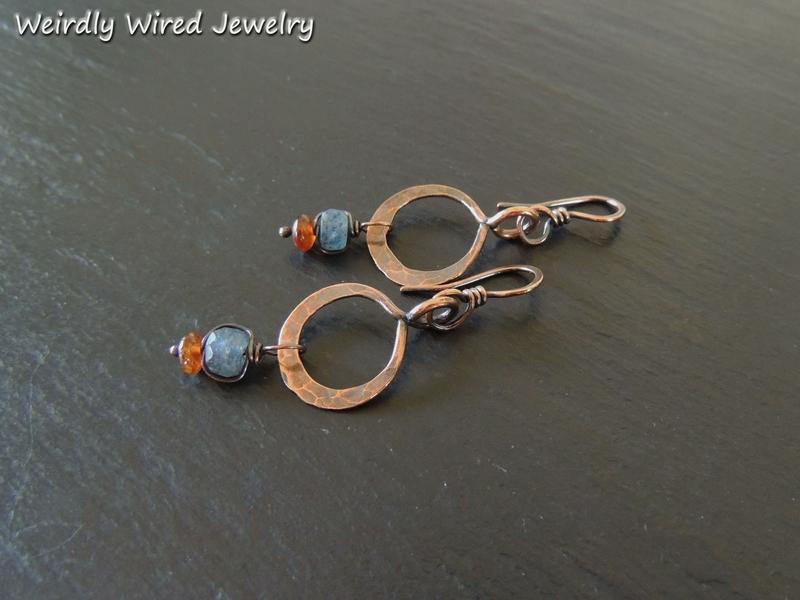 Kyanite, Hessonite Copper Hoops