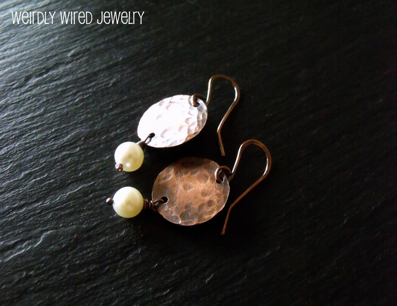 Copper Disc and Pearl Earrings
