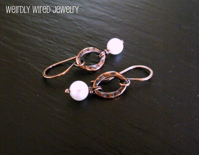 Hammered Copper Link FWP Earrings