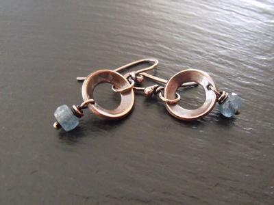 Kyanite Copper Hoops