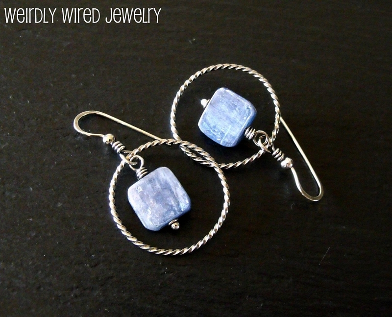 Kyanite Sterling Hoops-Gina