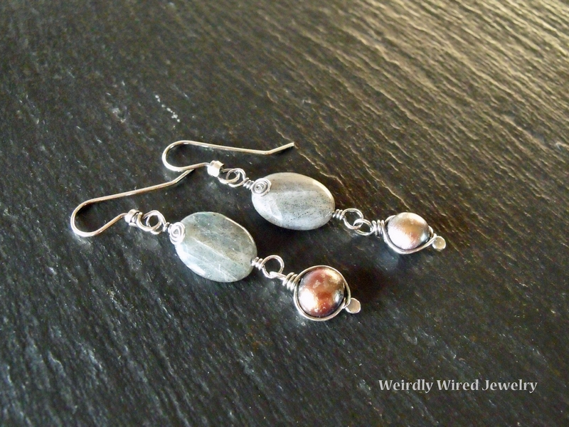 Labradorite Brown FWP SS Earrings