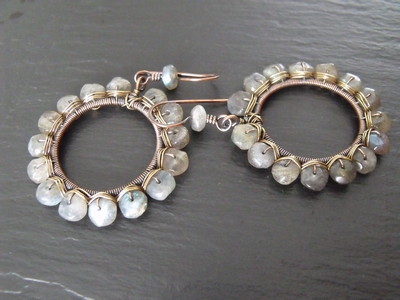 Labradorite Mixed Metal Hoops
