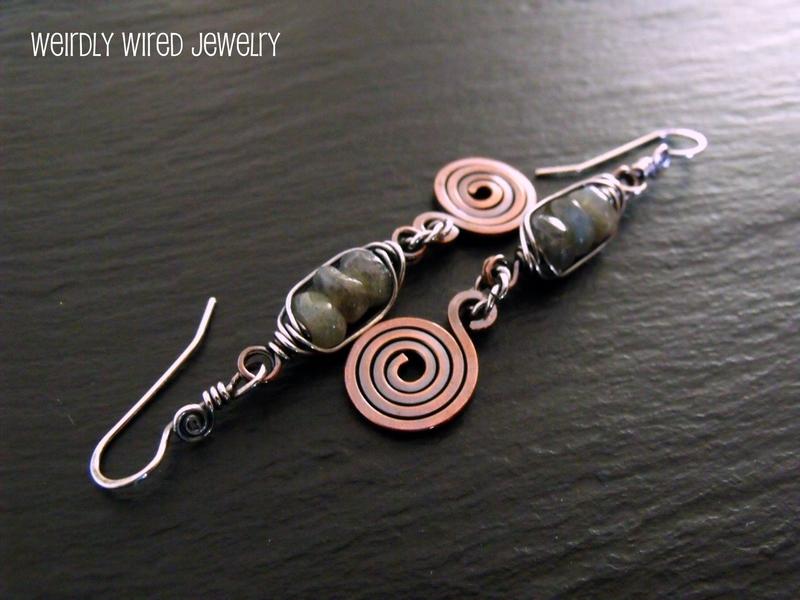 Labradorite Square Copper Earrings