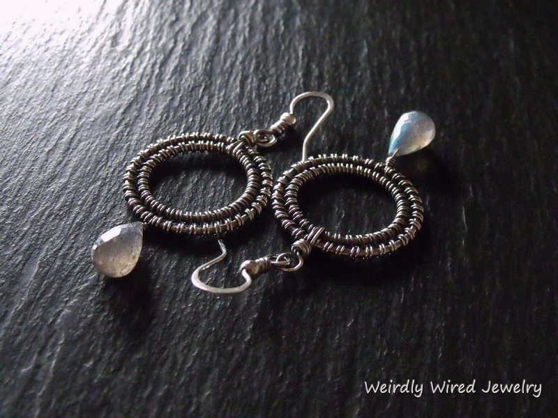 Labradorite Sterling Wire Wrapped Earrings