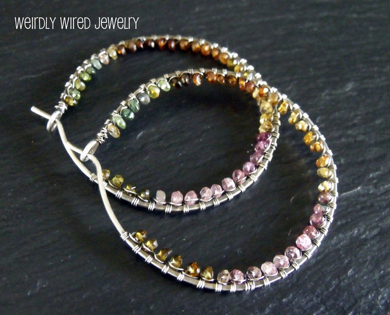 Large Tourmaline Hoops