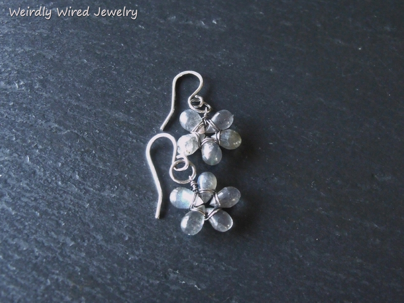 Little Labradorite Flower Earrings