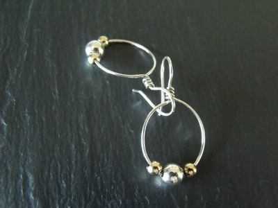 Gold and Sterling Ball Small Hoops