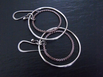 Mixed Metal 3-D Hoops