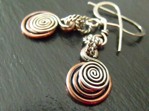 Mixed Metal Spiral Earrings