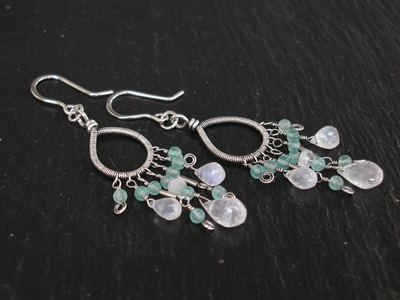 Moonstone Apatite Chandelier Earrings