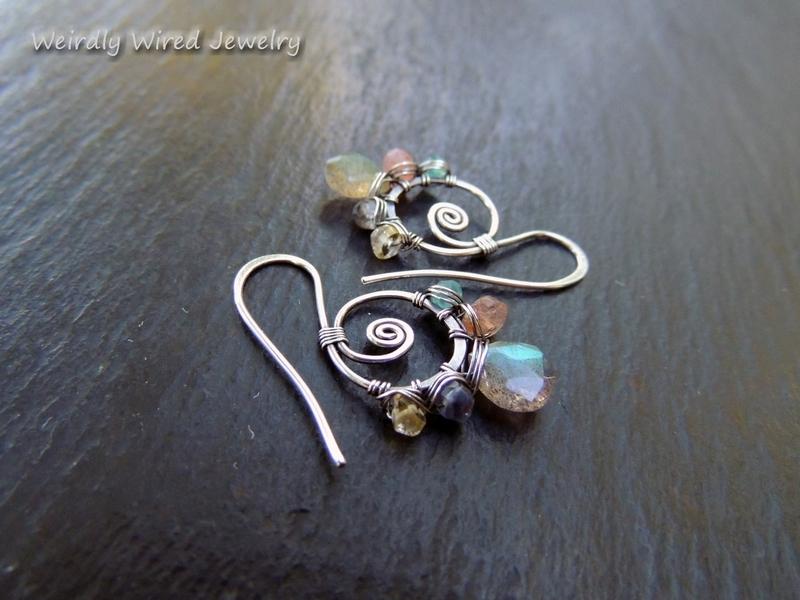 Multi-Gemstone Sterling Hook Earrings