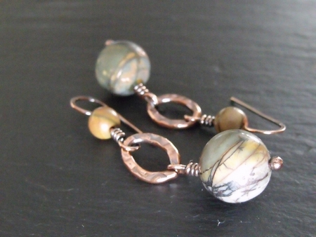 Oval Copper and Picasso Jasper Earrings