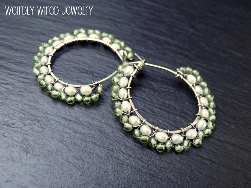 Pearl and Peridot Sterling Hoops