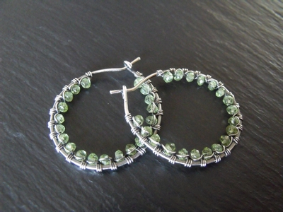 Peridot and Sterling Hoops