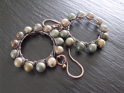 Picasso Jasper Large Copper Hoops