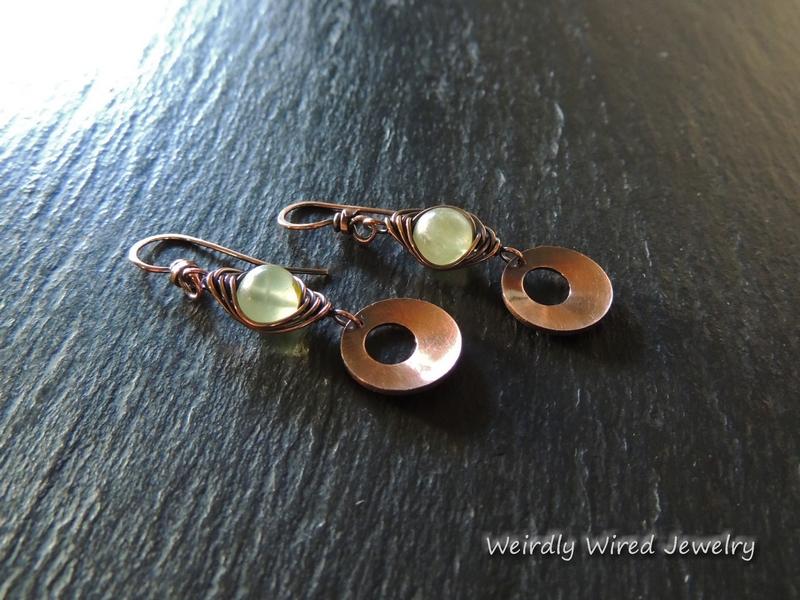 Prehnite Copper Herringbone Earrings
