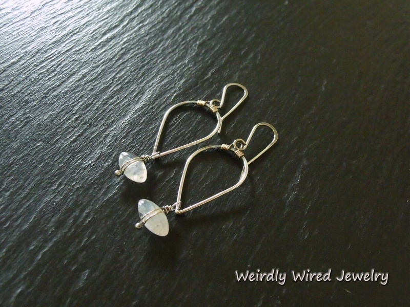 Rainbow Moonstone SS/GF Inverted Petal Earrings