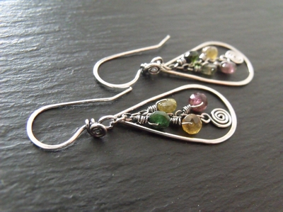 Rainbow Tourmaline Drop Earrings