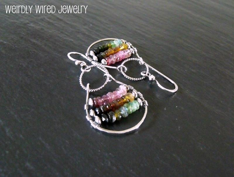Rainbow Tourmaline Hoop Earrings