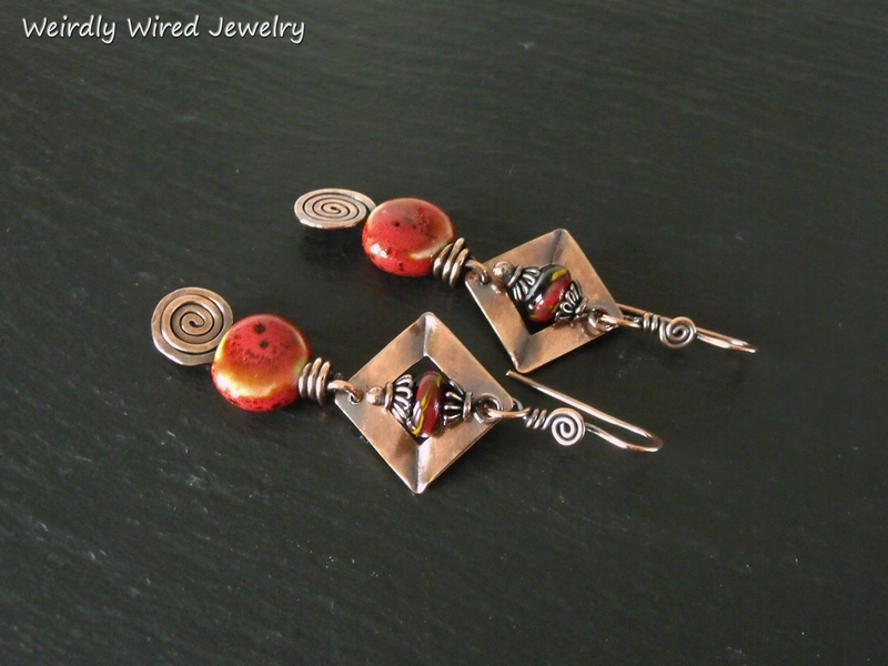Red Greek Porcelain Earrings