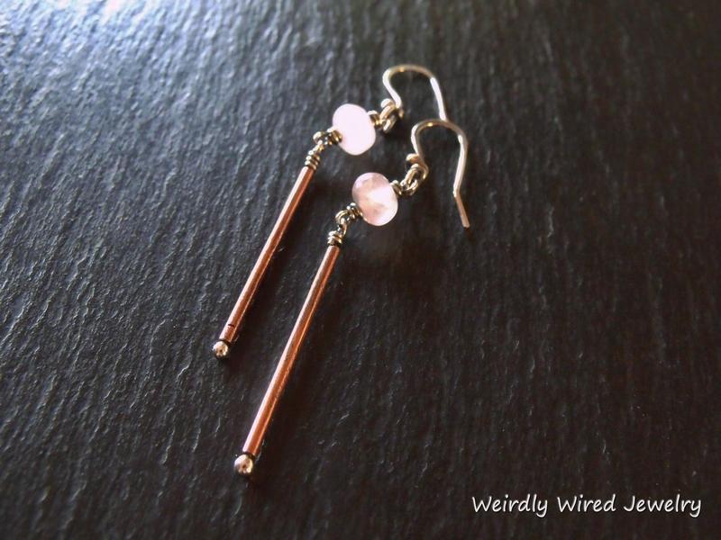 Rose Quartz Copper Tube Earrings