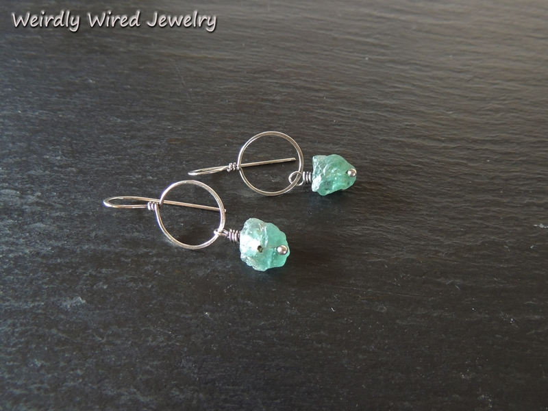 Rough Apatite Sterling Earrings