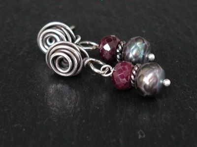 Faceted FWP and Ruby Post Earrings
