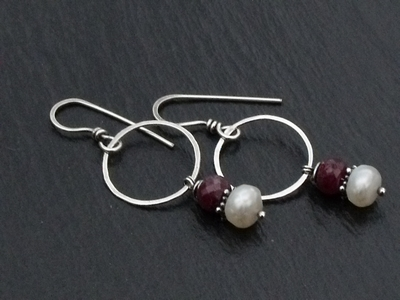Ruby and Faceted FWP Hoop Earrings