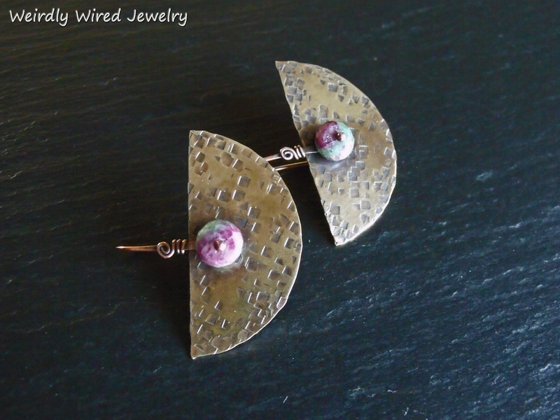 Ruby Zoisite Brass 1/2 Circle Earrings