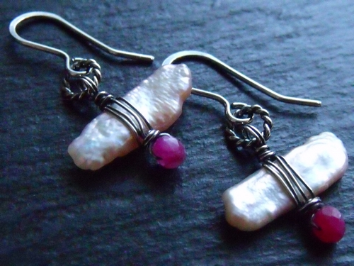 Ruby and BIWA Pearl Earrings