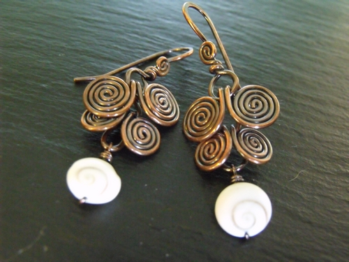 Copper and Shiva Shell Egyptian Earrings