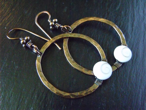 Copper Hoop Shiva Shell Earrings