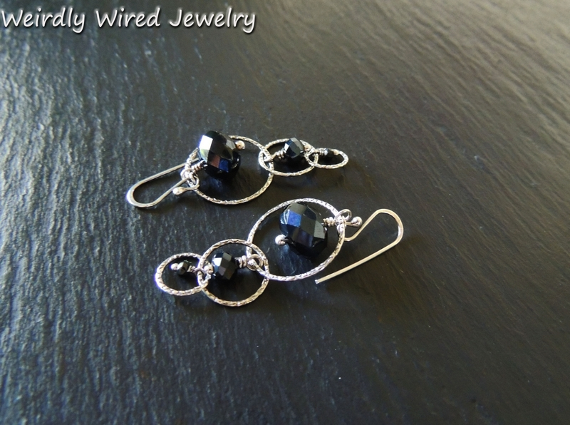 Silver Hoops and Black Stones Earrings