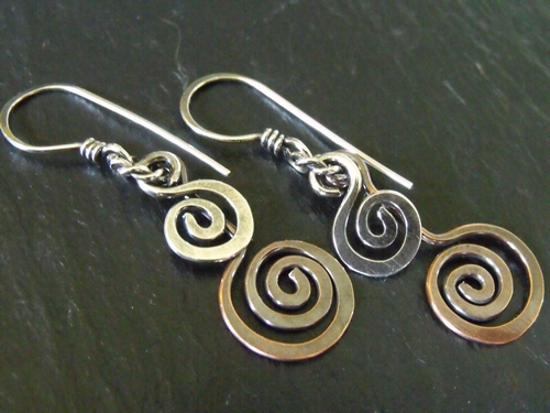 Open Spiral Mixed Metal Earrings