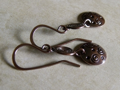 Spirals and Dots Stamped Earrings