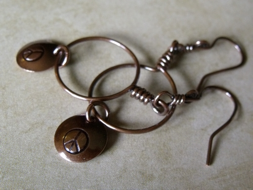 Stamped Peace Hoop Earrings