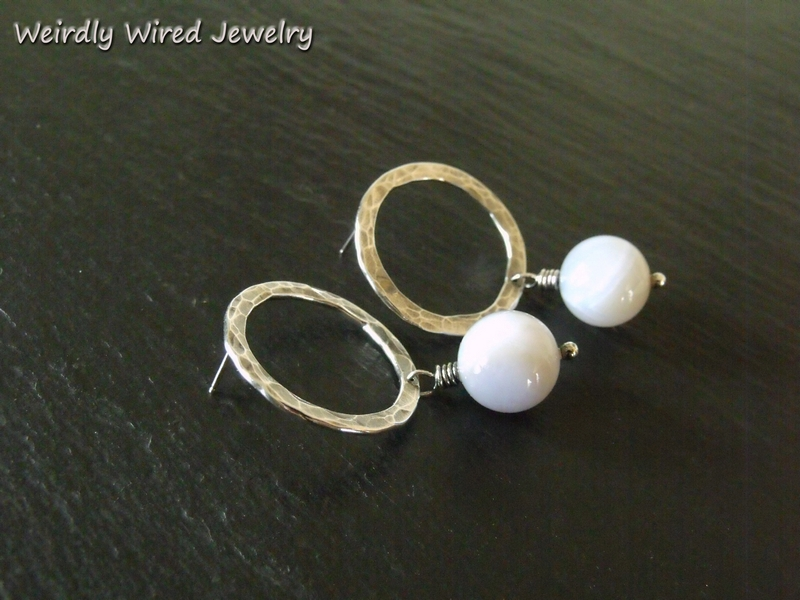 Sterling Circle Post Earrings with Blue Agate