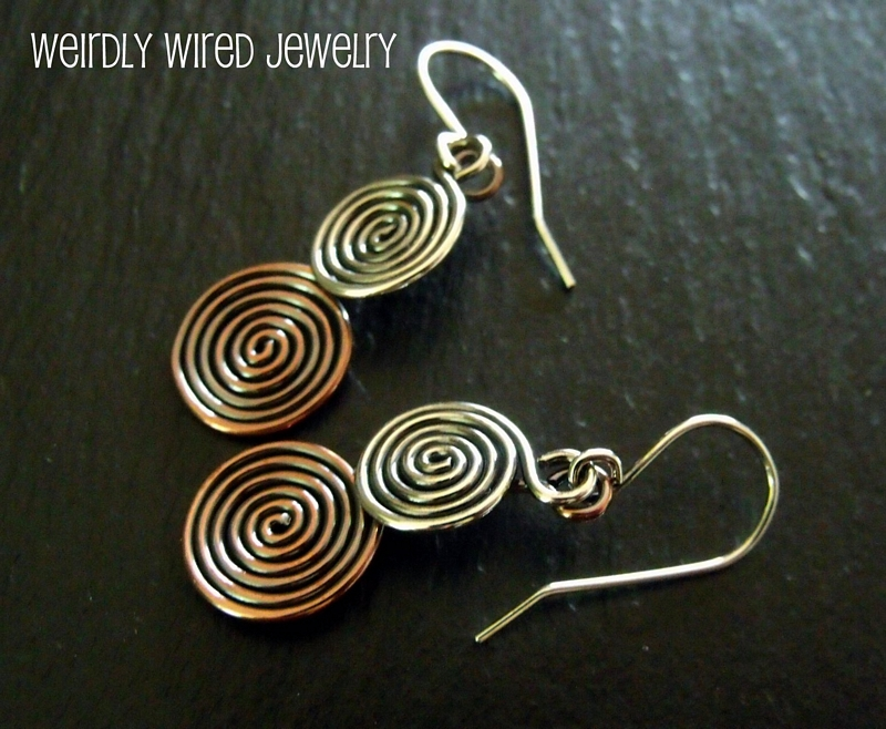 Sterling and Copper 2 Spiral Earrings