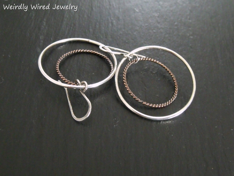 Sterling Tw.Copper 3-D Earrings