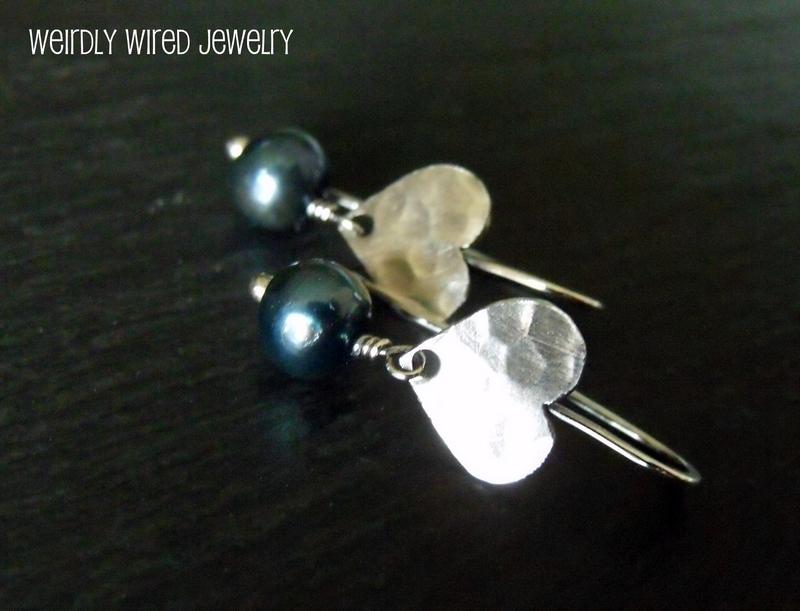Sterling Heart Blue Pearl Earrings