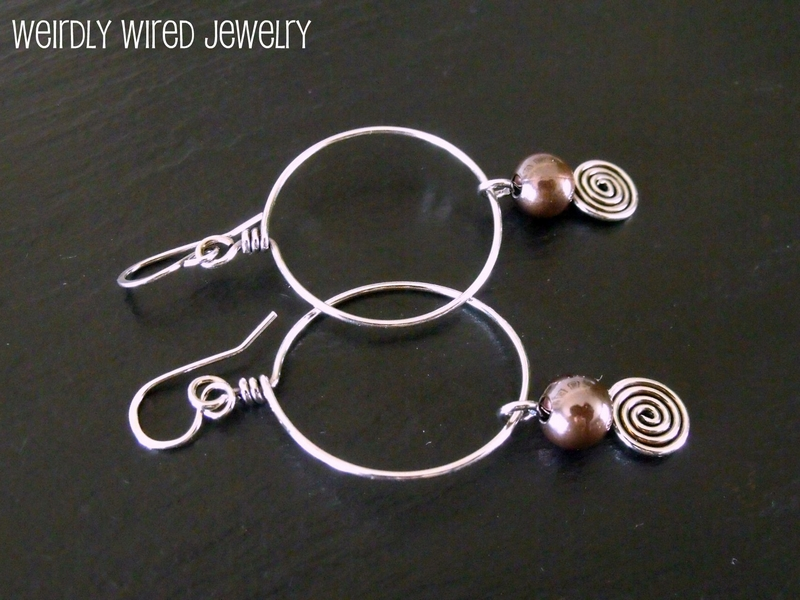 Sterling Hoop and Copper Ball Earrings