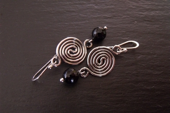 Sterling Spiral and Black Onyx Earrings