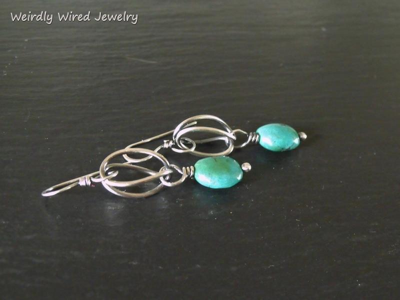 Folded Loop Sterling Turquoise Earrings