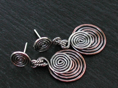 Sterling and Copper Spiral Post Earrings