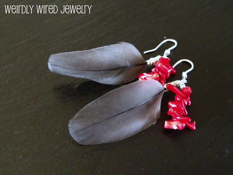 Timneh Feather and Coral Earrings