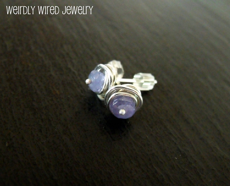 Tanzanite Sterling Button Earrings