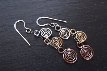 Three Metal Spiral Earrings