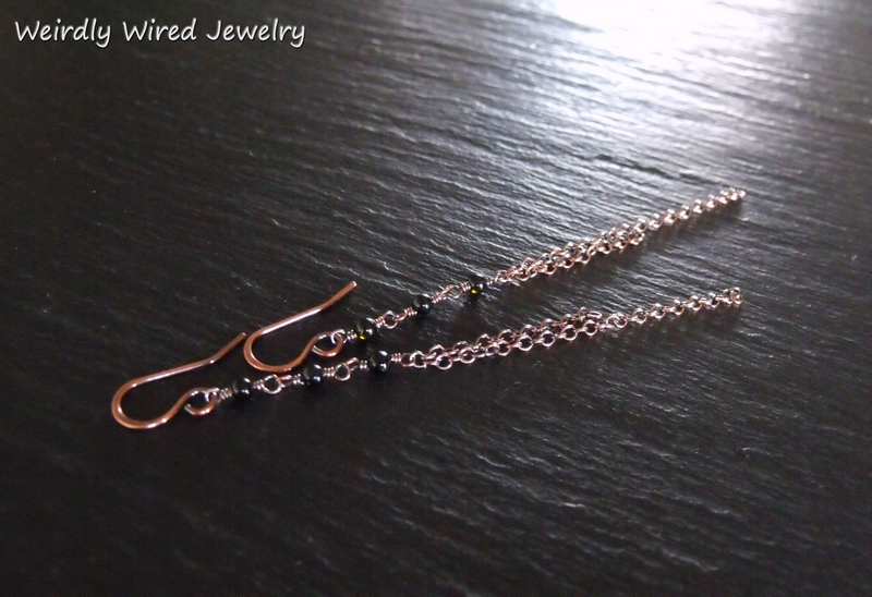 Tourmaline Copper Chain Earrings